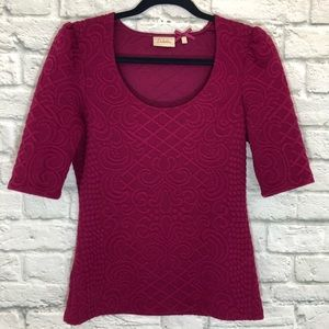 Anthropologie Deletta Fuschia 1/2 Sleeve Top